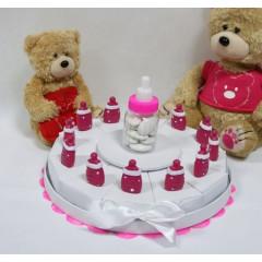 Gâteau baptême - Biberon fuchsia