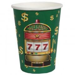Gobelet casino vert, rouge et or x10