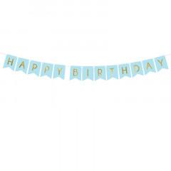 Guirlande Happy Birthday bleue et dorée 175 cm