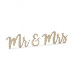 Inscription dorée Mr et Mrs en bois