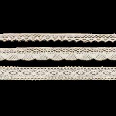 3 Rubans coton dentelle ivoire - 1.5m