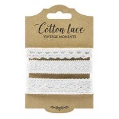 3 rubans coton dentelle blancs