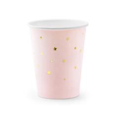 Gobelet en carton rose et étoiles dorées