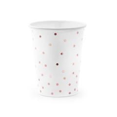 Gobelet en carton blanc à pois rose gold