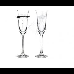 2 Flûtes à champagne noeud papillon + voile mariée