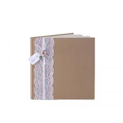 Livre d'or chocolat dentelle roses
