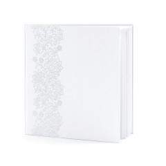 Livre d'or mariage blanc et ornements fleurs