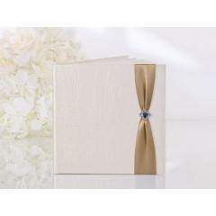 Livre d'or mariage taffetas crème et ruban chocolat