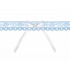 Jarretière en dentelle avec ruban - bleu ciel