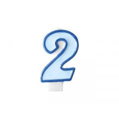 Bougie d'anniversaire chiffre 2 bleu
