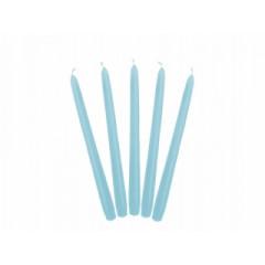 10 Bougies flambeau 24 cm - bleu ciel