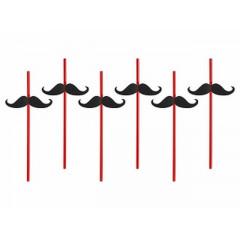 6 pailles moustache - rouge