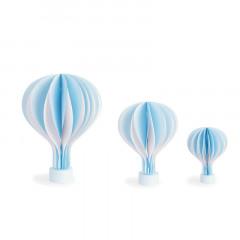 Montgolfière en papier bleu avec socle