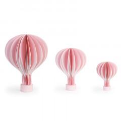 Montgolfière en papier rose avec socle