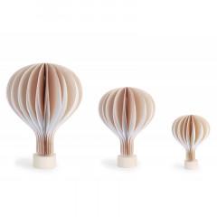 Montgolfière en papier taupe avec socle