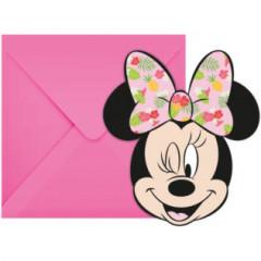 6 invitations avec enveloppes Minnie Tropical