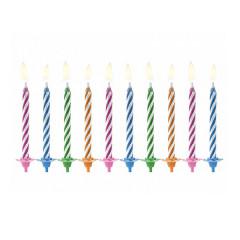 10 Bougies gâteau anniversaire multicolores