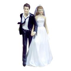Figurine mariés cravate au vent