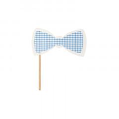 Nœud Papillon photobooth vichy bleu ciel et blanc en tissu 17 cm