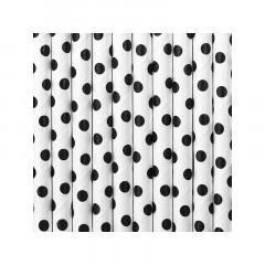 Pailles blanches à pois noirs x 10