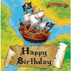 16 serviettes navire pirate