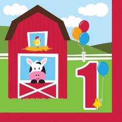 18 serviettes animaux de la ferme – 1er anniversaire