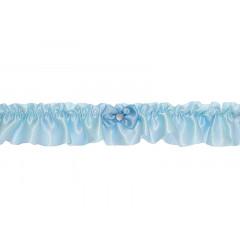 Jarretière bleu ciel - petit noeud et strass en coeur