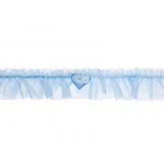 Jarretière bleu ciel - petit coeur et perles