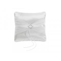 Coussin porte alliances - blanc avec ruban blanc