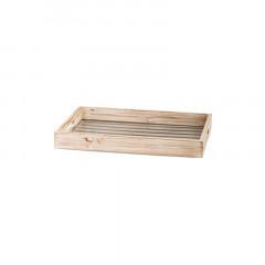 Plateau en bois blanchi fond en verre 38,5 x 26 cm