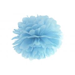 Pompon de papier buvard bleu brume clair - 35 cm