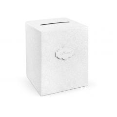 """Urne mariage """"merci"""" blanche et grise - 25 cm x 25 cm x 30 cm"""