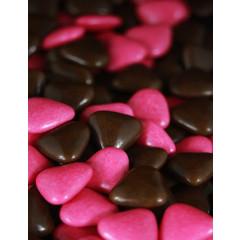 Dragées petits coeurs - chocolat / fuchsia