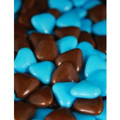 Dragées petits coeurs - chocolat / turquoise