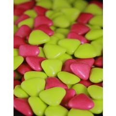 Dragées petits coeurs - vert anis / fuchsia