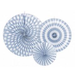 Rosace en papier bleu et blanc