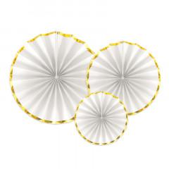 Rosaces blanches et dorées x 3