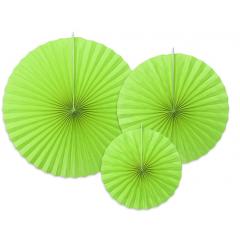 3 Rosaces décoratives vert anis - 40 cm, 32 cm, 23 cm
