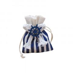 10 X Sachet Dragées tissu Rayé Bleu Marin