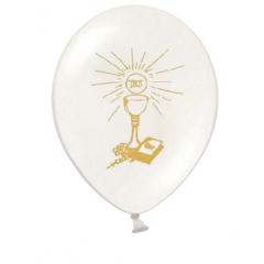 6 Ballons blanc et or 27 cm