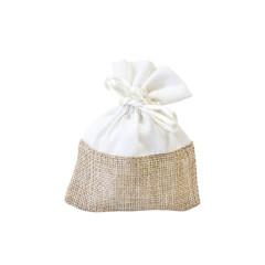 4 sachets à dragées en toile et tissu pas chers