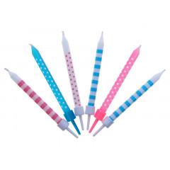 Bougies anniversaire - rose et bleu - rayure et pois x6