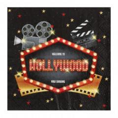 Serviette cinéma Hollywood noire rouge et or x20