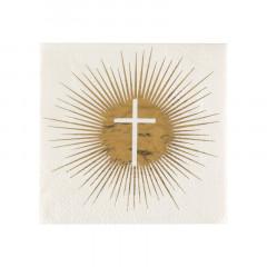 Serviette croix communion blanche et or