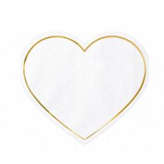 20 Serviettes coeur blanche et or