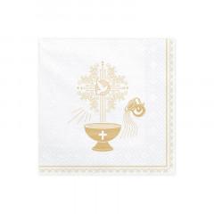Serviettes papier baptême blanc et doré x 20