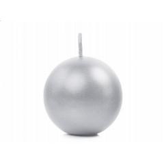 Bougie ronde argent métallisé - Ø 6 cm