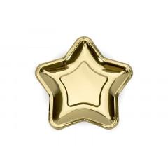 6 assiettes étoiles or