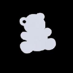 etiquette forme nounours blanc