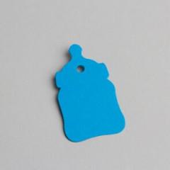 etiquette forme biberon turquoise